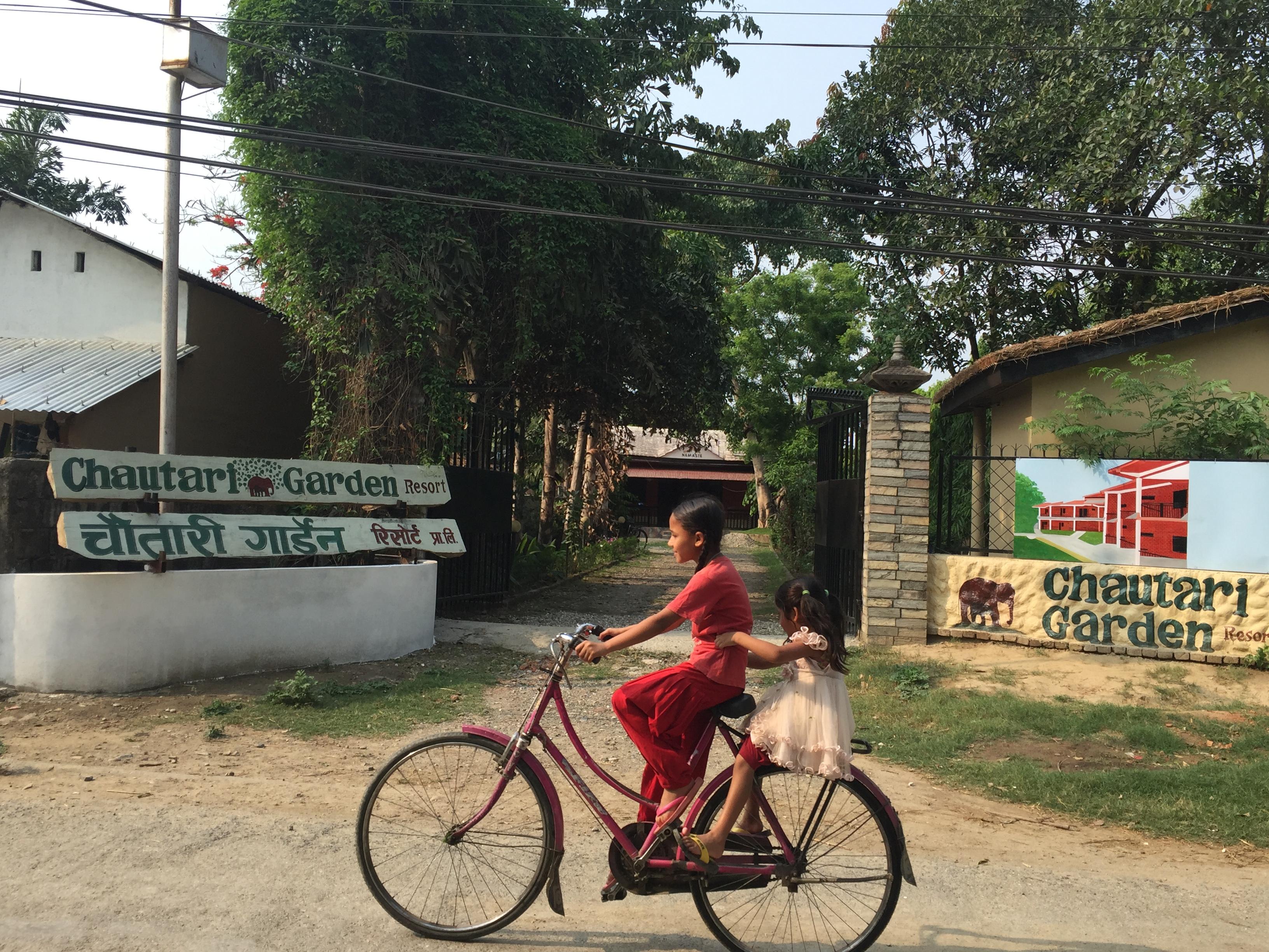 Children bicycling